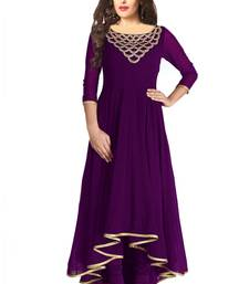 Purple  embroidered georgette kurti shop online