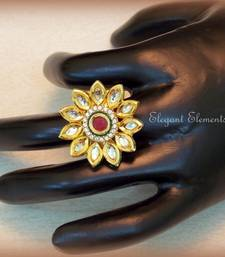 Buy Lotus flower, kundan and AD stud adjustable ring Ring online