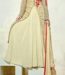 Buy Beige embroidered georgette semi stitched salwar with dupatta party-wear-salwar-kameez online