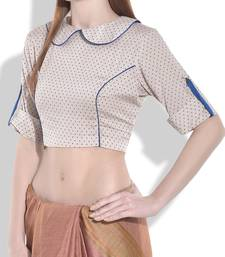 Buy ivory and royal blue cotton blouse crop-top online