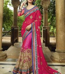 Buy pink embroidered georgette saree with blouse net-saree online
