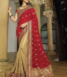 Buy red and beige embroidered net saree with blouse net-saree online
