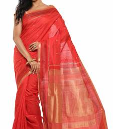 Buy Red Plain Tussar Silk saree with blouse tussar-silk-saree online