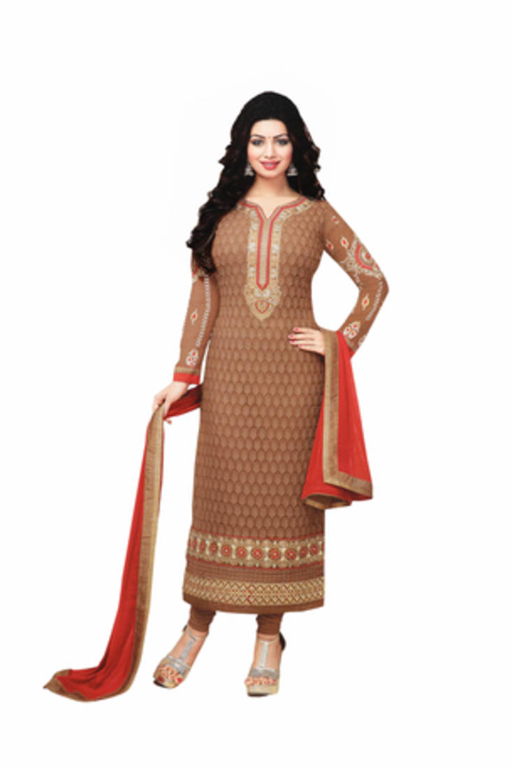 Buy Brown Embroidered Nazneen Semi Stitched Salwar With