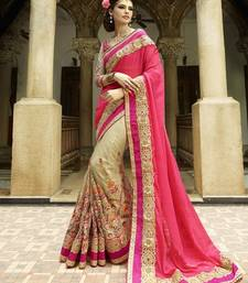 Buy Beige and pink embroidered georgette and chiffon saree with blouse wedding-saree online