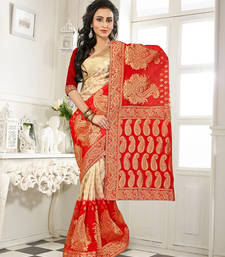 Buy Cream and red embroidered silk saree wtih blouse banarasi-silk-saree online