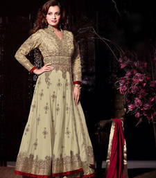 Buy Beige  heavy net embroidery unstitched salwar with dupatta dress-material online