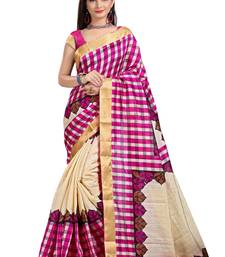 Buy multicolor printed art silk saree with blouse cotton-saree online