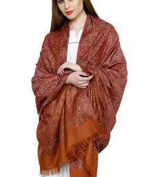 Buy Orange reversible jamawar acrylic winter shawl with fringes shawl online