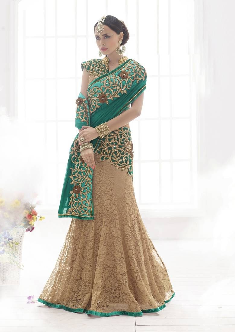 Buy Rama Green And Chikoo Embroidered Net Saree With Blouse Online