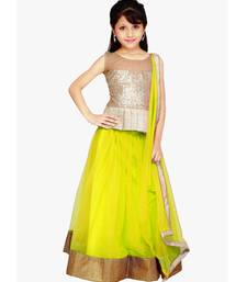 Buy yellow Net plain kids lehenga-choli kids-lehenga-choli online