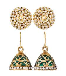 Buy Pair of Green White Indian Ethnic Wedding Jhumki and Stud Earrings jhumka online