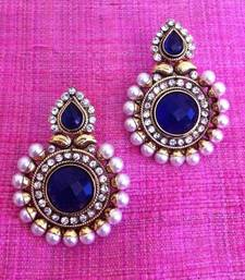 Buy Magnetic blue stone charming pearl polki earring c461b DDS 14 gifts-for-girlfriend online