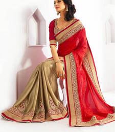 Buy Red and Cream embroidered georgette saree with blouse wedding-saree online