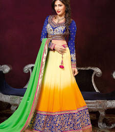 Buy Yellow Georgette Embroidered unstitched lehenga-choli bollywood-lehenga online
