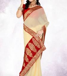 Buy Party Wear Cream Faux Georgette Saree with Blouse georgette-saree online