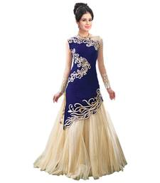 Buy Blue net embroidered semi stitched party-wear-gowns party-wear-gown online
