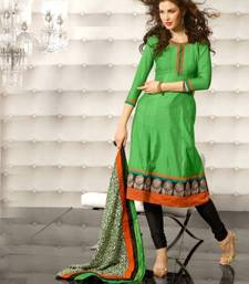Buy Metro Anarkali Chanderi Cotton Printed Embroidery Suit Materials D.No S1016 dress-material online