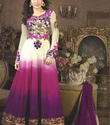 Buy Purple georgette embroidered semi stitched salwar with dupatta anarkali-salwar-kameez online