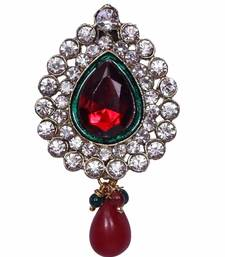 Buy Heer&Sahib Leaf Design & Crystal embedded elegant Kagi Broach with multiple usage  brooch online