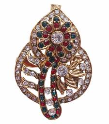 Buy Heer&Sahib Multiocolour & Cystal embedded  Designer & elegant Kalgi Broach with multiple usage  brooch online