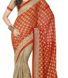 Buy Orange and Beige printed chiffon saree with blouse brasso-saree online