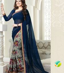 Buy Navy Blue Printed Weightless Georgette saree with blouse half-saree online