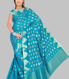 Buy BLUE CHIFFON SAREE TEMPLE BORDER chiffon-saree online