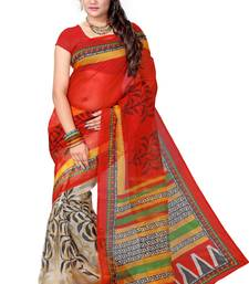 Buy Red printed net saree with blouse supernet-saree online