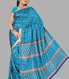 Buy Pavecha's Surat Synthetic Saree Mulberry Silk Blue Mango crepe-saree online