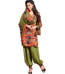Buy Orange printed Crepe unstitched salwar with dupatta punjabi-suit online