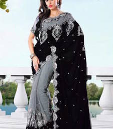 Buy Grey And Black embroidered net saree with blouse net-saree online