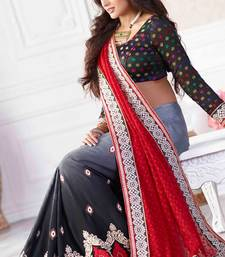 Buy Red and Grey embroidered Georgette saree with blouse party-wear-saree online