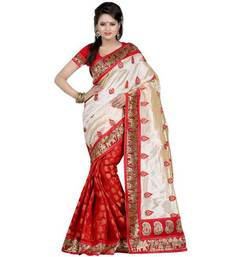 Buy Red embroidered Chiffon saree with blouse chiffon-saree online