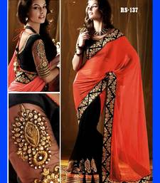 Buy orange and lace work and gergotte and Designeer saree and new arrival saree and with blouse half-saree online