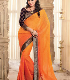 Buy Orrange Patch patta Work Chiffon saree with blouse party-wear-saree online