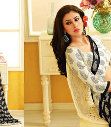 Buy Cream and Black Printed Georgette saree with blouse printed-saree online