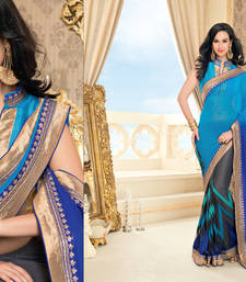 Buy Blue Heavy Bordered Sarees Net and Georgette saree with blouse heavy-work-saree online