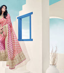 Buy Pink Bordered Saree Brasso saree with blouse brasso-saree online