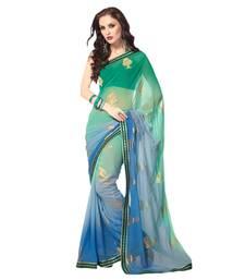 Buy Sahiba Georgette Rama Color Designer Saree Chamcham422 georgette-saree online
