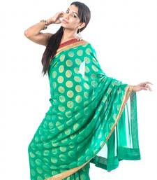 Buy Green Polka Georgette georgette-saree online