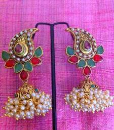 Buy Red green paisley and array of small pearls India jhumka earring jewelry v630 jhumka online