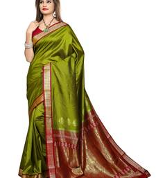 Buy Mehandi plain jacquard Saree with blouse jacquard-saree online