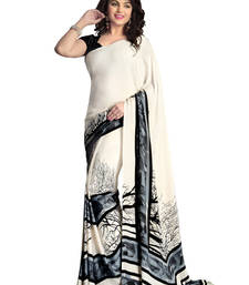 Buy Off White printed art crape  Saree with blouse crepe-saree online