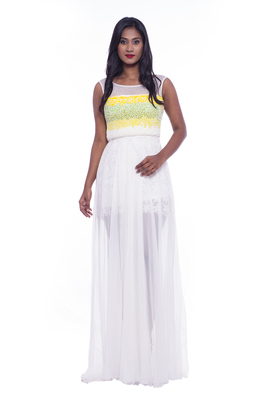 Buy white with green bead embroidered chiffon evening gown online