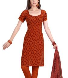 Fabdeal Orange French Crepe Dress Material shop online