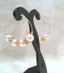 Buy Very pretty casual wear PEARL  beads cz hoops style earring pair hoop online