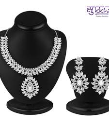 Buy Sukkhi Incredible Rhodium plated AD Stone Necklace Set necklace-set online