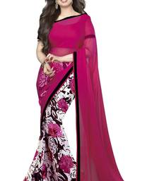 Buy pink and white printed georgette saree with blouse georgette-saree online