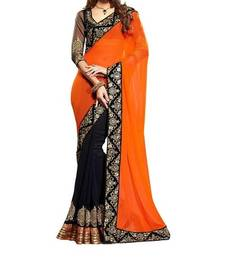 Buy Orange and Black embroidered chiffon saree with blouse chiffon-saree online